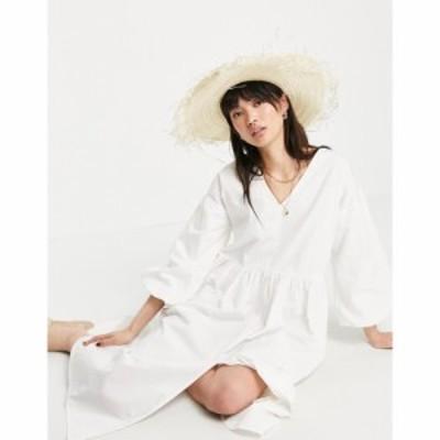 プリティーラビッシュ Pretty Lavish レディース ワンピース ワンピース・ドレス Organic Cotton Balloon Sleeve Midi Smock Dress In Cr