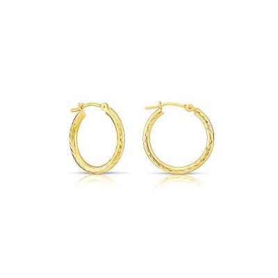 14k Yellow Gold Hand Engraved Full Diamond-cut Round Hoop Earrings (20mm (0.78 inch))【並行輸入品】