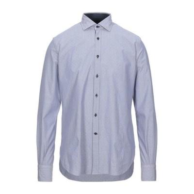 DEL SIENA ストライプ柄シャツ ファッション  メンズファッション  トップス  シャツ、カジュアルシャツ  長袖 ダークブルー