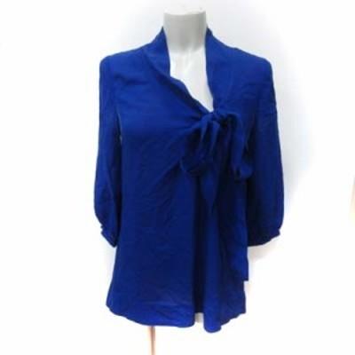 【中古】ダイアンフォンファステンバーグ シャツ ブラウス ボウタイ リボン 七分袖 絹 シルク 2 青 ブルー レディース