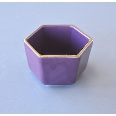 小鉢 六角 金縁 紫 小付け