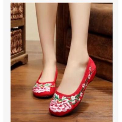 レディースシューズ チャイナ靴 手作り北京布靴 ローヒールエスニックチャイナシューズカジュアル  太極拳靴 花刺繍柄 ミュール 婦人靴