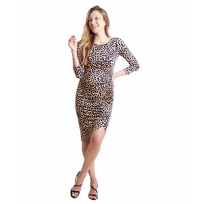 イングリッドアンドイザベル レディース ワンピース トップス Maternity 3/4 Sleeve Front Shirred Dress Taupe Leopard Print