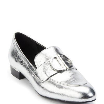 ダナ キャラン ニューヨーク レディース スリッポン・ローファー シューズ Eli Leather Logo Hardware Strap Block Heel Loafers Silver