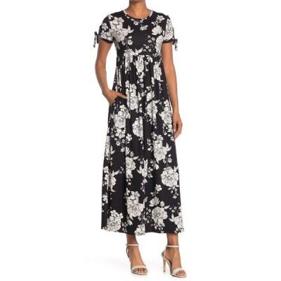 ベルベットトーチ レディース ワンピース トップス Tie Sleeve Floral Print Maxi Dress BLK WHT FLORAL