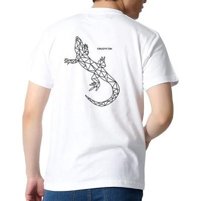 (グルーブオン)GROOVEON Tシャツ メンズ おおきいサイズ 半袖 幾何学 プリント トップス サーフ系 トカゲ ジオメトリックデザイン ブラン
