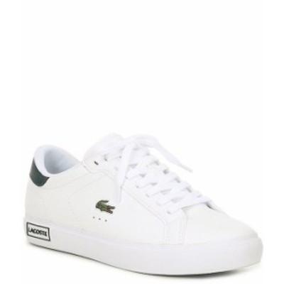 ラコステ レディース スニーカー シューズ Women's Powercourt 0520 Leather Sneakers White/Dark Green