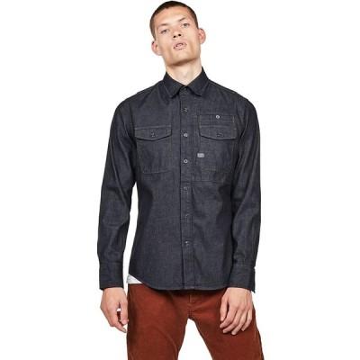 [G-Star RAW ジースターロゥ] デニムシャツ 長袖 メンズ スリム 胸ポケット 紺 ネイビー CPO Slim Shirt XL
