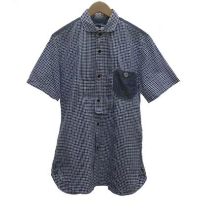 JUNYA WATANABE CdG MAN 千鳥柄半袖シャツ ブルー サイズ:S (堅田店) 200416