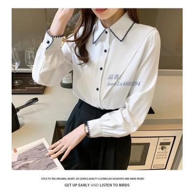 シャツ ブラウス レディース トップス 羽織 長袖 白シャツ 白ブラウス 大きいサイズ 襟付き