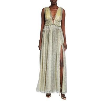 ジョナサンシムカイ レディース ワンピース トップス Metallic Plisse Open-Neck Maxi Dress