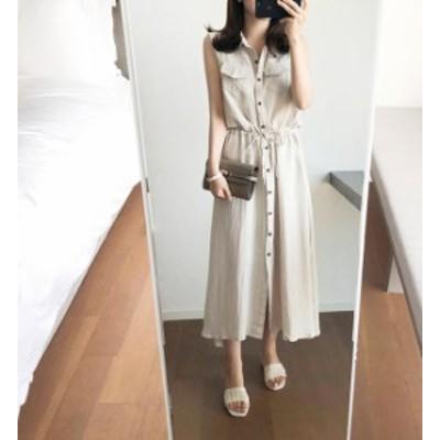 韓国 ファッション レディース ワンピース リネン ロング シャツワンピース 大きいサイズ ノースリーブ ゆったり 大人可愛い カジュアル