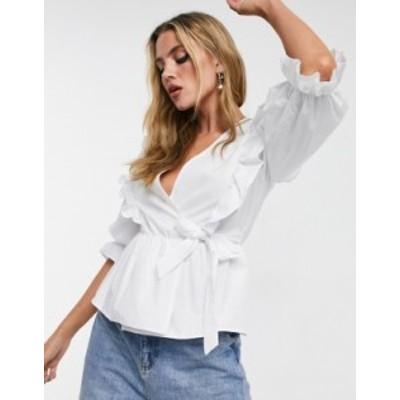 ニュールック レディース シャツ トップス New Look poplin ruffle detail wrap blouse in white White