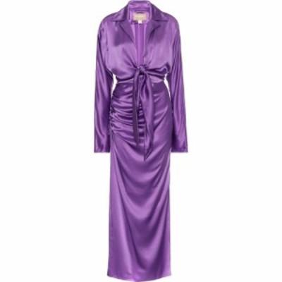 マテリエルティビリシ Materiel Tbilisi レディース ワンピース ミドル丈 ワンピース・ドレス Silk-satin midi dress Violet