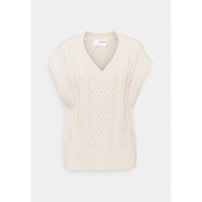 セレクテッドフェム Tシャツ レディース トップス SLFVICKA CABLE VEST - Print T-shirt - sandshell
