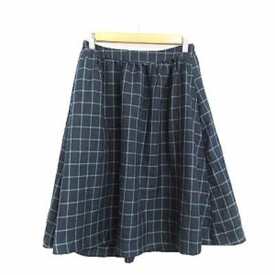 【中古】ショコラフィネローブ chocol raffine robe スカート ギャザー ひざ丈 チェック F 紺 ネイビー /AAM3