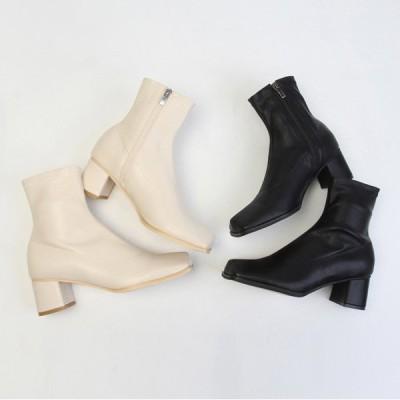 ショートブーツ ストレッチ サイドジップ スクエアトゥ ミドルヒール 太ヒール チャンキーヒール レディース 靴 婦人靴 黒 ブラック ベージュ レザー