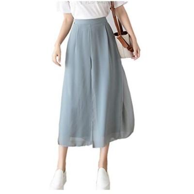 Phyllis Aレディースパンツ 長スカート シフォン 夏 無地スカート 長パンツスカート