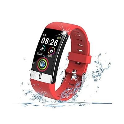 スマートウォッチ 完全防水 天気表示 メンズ レディース スマートブレスレット運動記録 長い時間待機 座りがち注意 着信通知  レッド