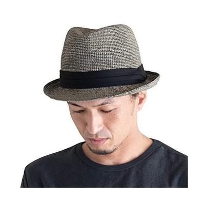 RUBEN ルーベン 細編みラフィア中折れハット [グレー/XLサイズ(頭周り約60.5cm〜61.5cm)] 帽子 麦わらハット 麦わら帽子 メンズ
