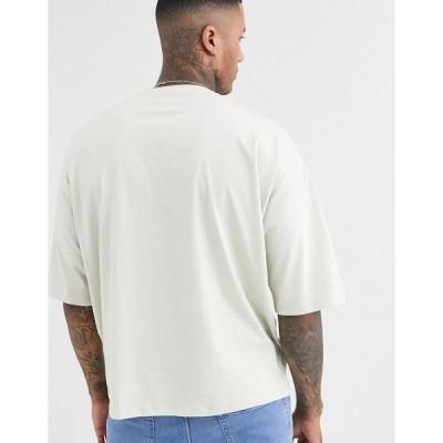 エイソス メンズ Tシャツ トップス ASOS DESIGN oversized t-shirt with large city chest print Light gray