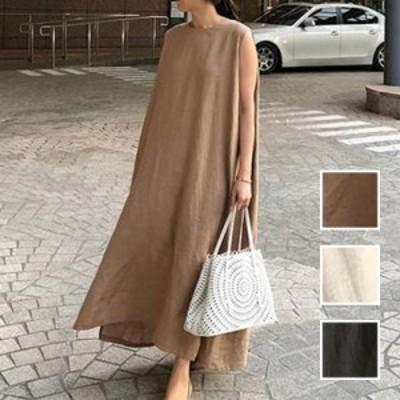 韓国 ファッション レディース ワンピース 夏 春 カジュアル naloI636  リネン風 ドレープ ゆったり マキシ ナチュラル シンプル コーデ