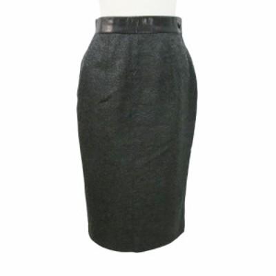 80's Vintage 80年代 ヴィンテージ トラント サンク レザー切替 ロングスカート 092004【中古】