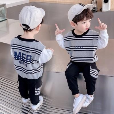 【80-130cm】2点セット トップス+パンツ カジュアル 全2色 韓国版 韓国子供服 子供服 女の子 キッズ kho311-q-to