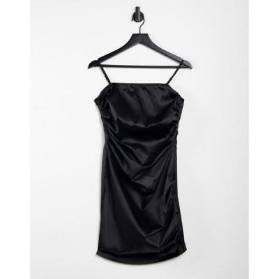 アイソウイットファースト I Saw It First レディース ボディコンドレス ワンピース・ドレス Ruched Satin Bodycon Dress In Black ブラック