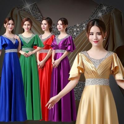 全5色 パーティードレス レディース ワンピース ピアノ発表会ドレス イブニングドレス ロングドレス ロング フォーマルドレス ブライダル