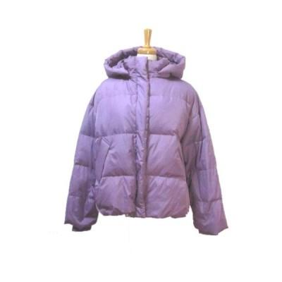 【中古】リリーブラウン Lily Brown ダウンジャケット ジップアップ フード取り外し可能 紫 パープル F フリー ドローコード X レディース 【ベクトル 古着】