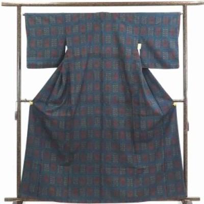 【中古】リサイクル着物 紬 / 正絹紺地袷紬着物 / レディース【裄Mサイズ】