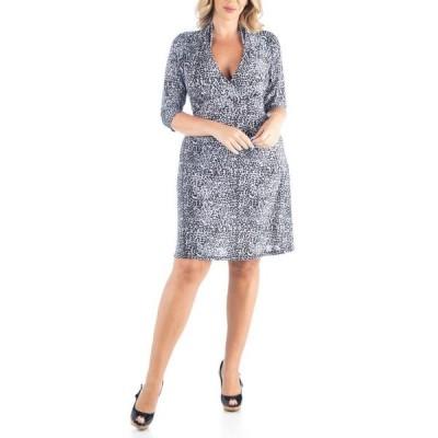 24セブンコンフォート レディース ワンピース トップス Women's Plus Size Leopard Print A-Line Dress