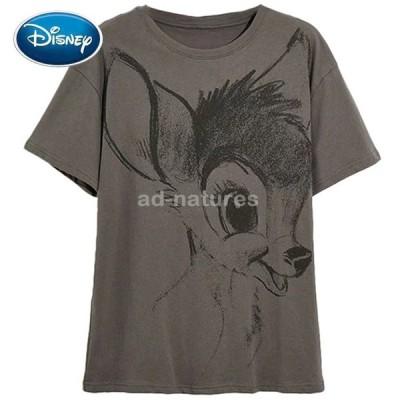 ディズニー Tシャツ バンビ ディア ファッション 女性 Oネック 半袖 Tシャツ 女性 カジュアル レディース トップス グレー
