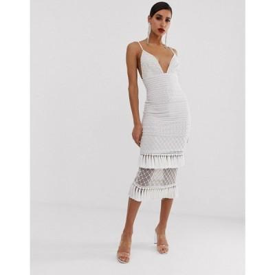 ミスガイデッド Missguided レディース ワンピース ワンピース・ドレス Peace and Love maxi dress in white with embellished hem White