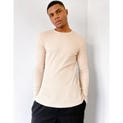 エイソス メンズ シャツ トップス ASOS DESIGN muscle fit long sleeve waffle t-shirt in beige Humus