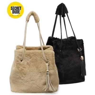 [secretdude] b130 柔らかい毛ラブリートートバッグファーバッグ韓国バッグ
