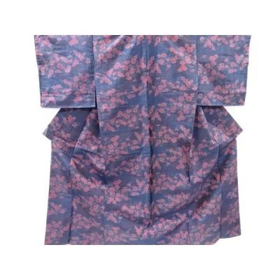 宗sou 未使用品 霞に菊・枝梅模様織り出し大島紬着物【リサイクル】【着】