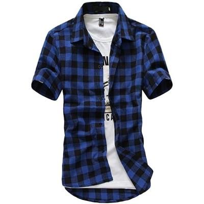 メリュエル カジュアル 半袖 チェックシャツ オシャレ ファッション カラー 男性用 アウター(ダークブルー, XL(日本sizeL))