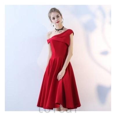 ドレス結婚式お呼ばれ膝丈ミモレ丈パーティードレスワンピースドレス10代20代30代40代50代ワンショルダー個性的フレアカラー大きいサ