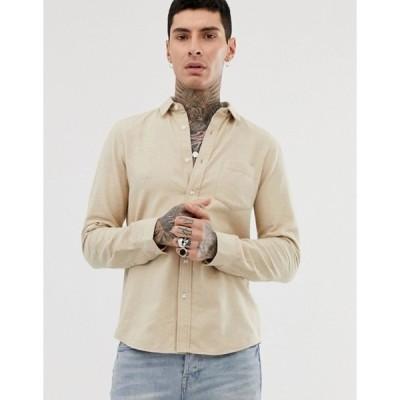 エイソス メンズ シャツ トップス ASOS DESIGN regular fit flannel marl shirt in ecru