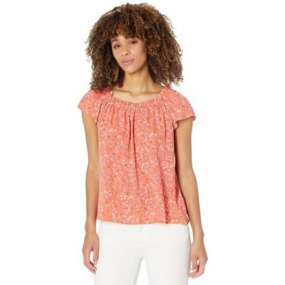 セセ シャツ トップス レディース Short Sleeve Square Neck Floral Blouse Bay Coral