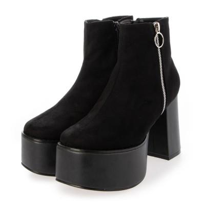 マフモフ Mafmof Mafmof(マフモフ) リングジップストーム付き 厚底ブーツ (ブラック・スエード)