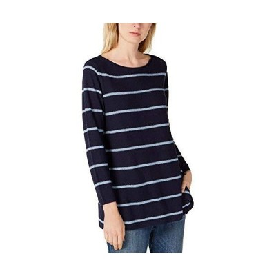 Eileen Fisher Womens Striped Boat Neck Pullover Sweater, Blue, X-Small並行輸入品