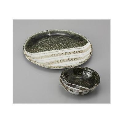 天ぷら皿と小鉢のセット 織部ストライプ 7.0天皿 とんすい 業務用 美濃焼 7a234-3-4-71f