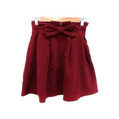 【中古】アラマンダ allamanda フレアスカート ミニ リボン 38 赤 ボルドー /MS レディース 【ベクトル 古着】