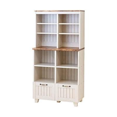 キャビネット オープンキャビネット レンジ台 食器棚 本棚 カントリー 幅77 奥行40 高さ151 おしゃれ 木製 木目柄プリント アンテ
