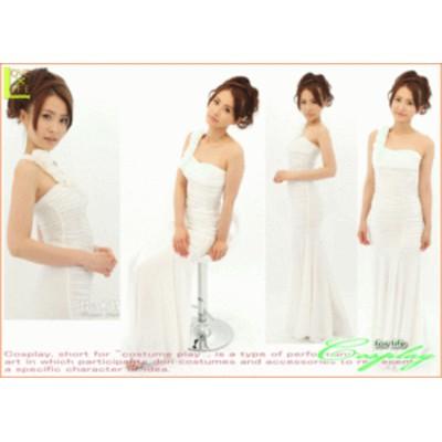 【1 】ピュアホワイト ロングドレス【ドレス】【パーティ】【嬢】【ホステス】【クラブ】花嫁をイメージさせる、クラシカルな華やかさが