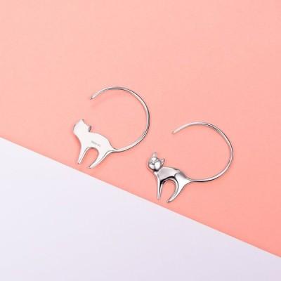 SILVERCUTE 925 Sterling Silver Cute Cat Earrings Mother's Day Gift Sim
