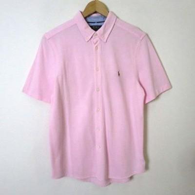 【中古】ポロ ラルフローレン POLO RALPH LAUREN シャツ ボタンダウン 半袖 コットン 鹿の子 ポニー 刺繍 M-L ピンク